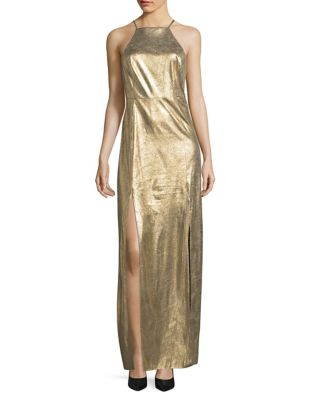 Metallic Suede Halter Gown by H Halston