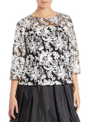 Plus Embellished Mesh Blouse by Alex Evenings
