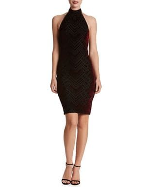 Halterneck Sheath Velvet Dress by Dress The Population