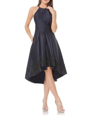 Embroidered Fit-&-Flare Hi-Lo Dress by Carmen Marc Valvo Infusion