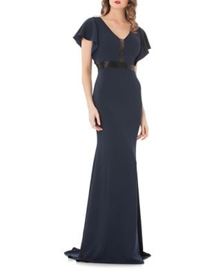 Midnight Crepe Gown by Carmen Marc Valvo Infusion