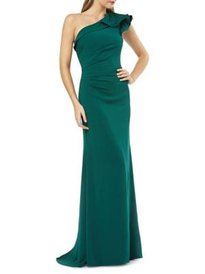 Crepe One-Shoulder Gown by Carmen Marc Valvo Infusion
