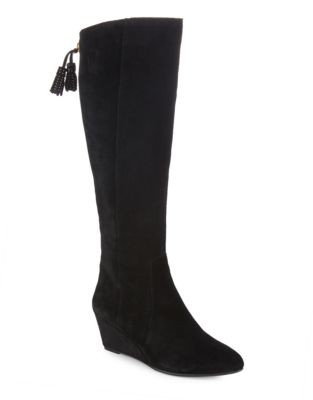 Suede Wedge Boots by Anne Klein