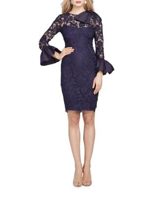 Lace Bell Sleeve Cocktail Dress by Teri Jon