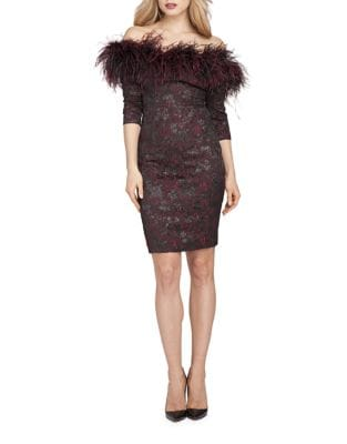 Off-the-Shoulder Feather Dress by Teri Jon