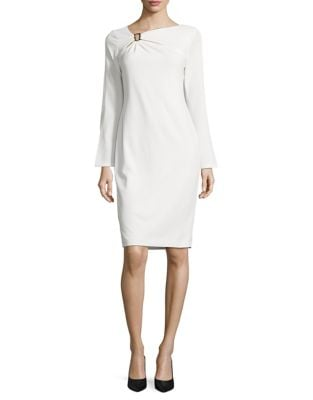Gathered Buckle Sheath Dress by Calvin Klein