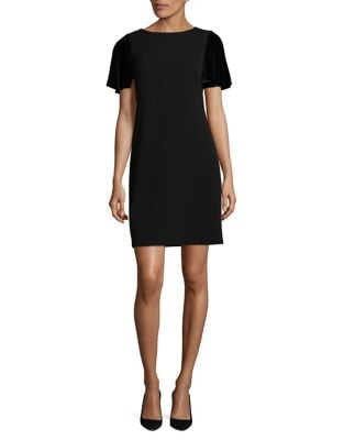 Photo of Velvet Sleeve Shift Dress by Calvin Klein - shop Calvin Klein dresses sales