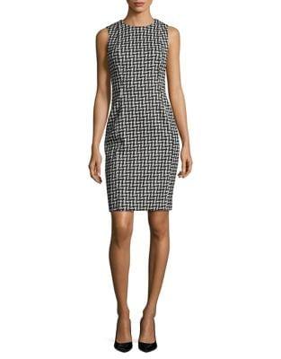 Herringbone Sheath Dress by Calvin Klein