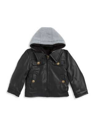 Baby Boys Faux Leather Bomber Jacket