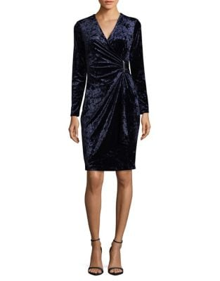 Mock-Wrap Sheath Dress by Calvin Klein