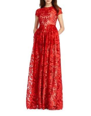 Floral Lace Gown by ML Monique Lhuillier