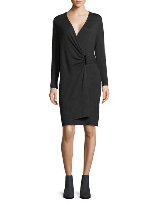 Buckled Wrap Dress by Calvin Klein