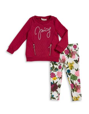 Little Girl's Two-Piece Quilted Sweater and Leggings Set 500087545514