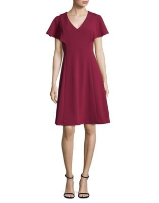 Flare-Sleeve A-Line Dress by Calvin Klein