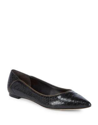 Netta Snake Print Leather Flats by Donna Karan