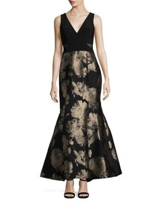 Petite V-Neck Jacquard Ball Skirt Gown by Xscape