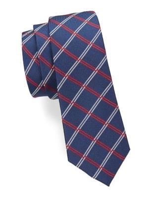 Boy's Plaid Silk Neck...