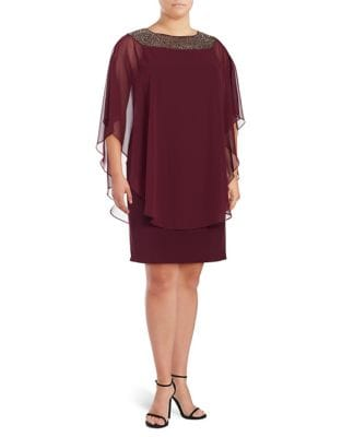 Plus Wine Chiffon Dress by Xscape