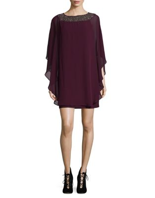 Wine Chiffon Dress by Xscape
