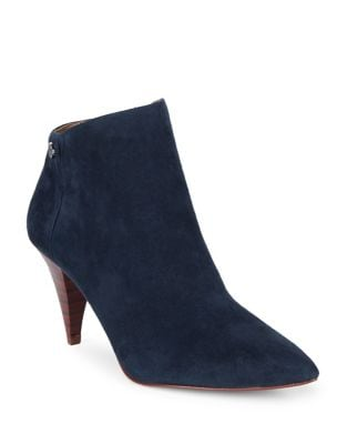 Suede Cone Heel Booties by Louise et Cie