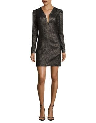 Plunging Long Sleeve Dress by Nicole Miller