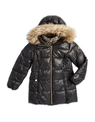Girls Faux FurTrimmed Puffer Jacket
