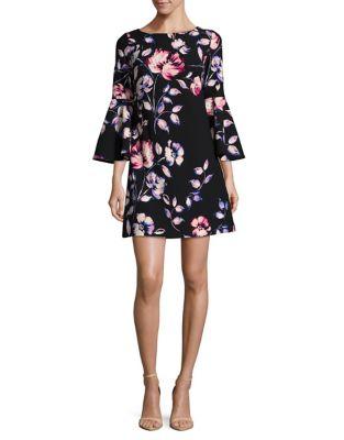 Floral Bell-Sleeve Mini Dress by Eliza J