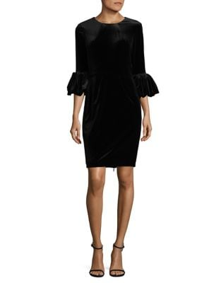 Velvet Puff Sleeve Sheath Dress by Betsy & Adam