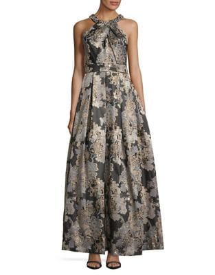 Floral Pleated Halter Ballgown by Eliza J