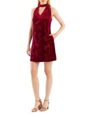 Choker-Neck Velvet A-Line Dress by Nicole Miller New York