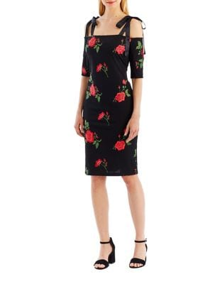 Cold-Shoulder Floral Sheath Dress by Nicole Miller New York
