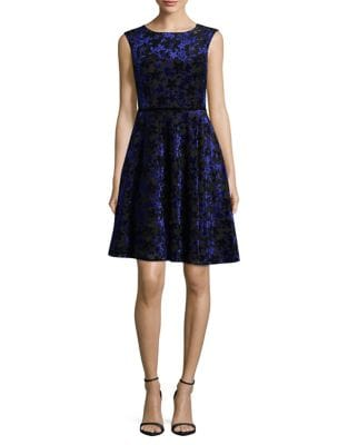 Petite Velvet Fit-&-Flare Dress by Tahari Arthur S. Levine