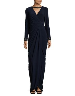 Beaded Jersey Wrap Gown by Adrianna Papell