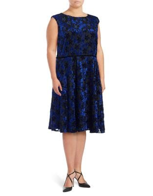 Plus Velvet Fit-&-Flare Dress by Tahari Arthur S. Levine
