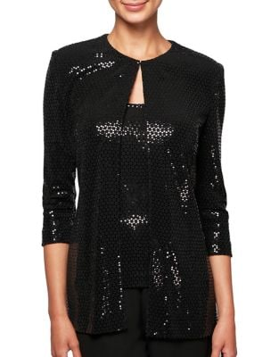 Two-Piece Metallic Tunic Jacket and Tank Top by Alex Evenings