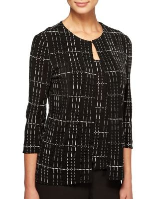 Two-Piece Grid Tunic Jacket and Tank Top by Alex Evenings