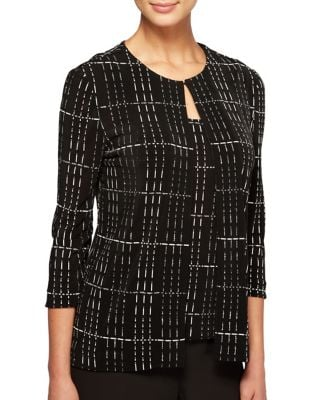 Plus Two-Piece Grid Tunic Jacket and Tank Top by Alex Evenings