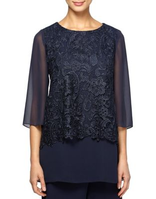 Plus Overlay Tunic Blouse by Alex Evenings