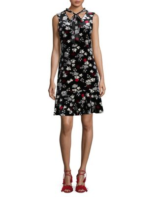 Lace Floral Velvet Fit-&-Flare Dress by Karl Lagerfeld Paris