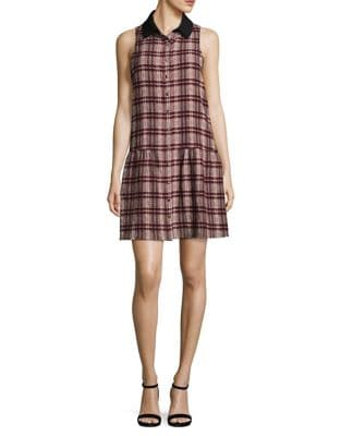 Plaid Button Front Shift Dress by Paper Crown