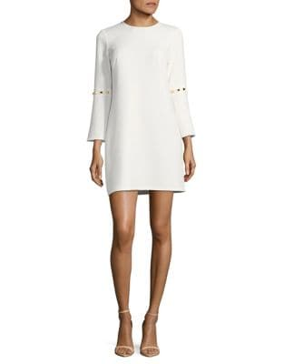 Metallic Accents Bell Sleeve Shift Dress by Shoshanna