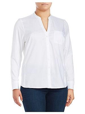 aed25783798 Calvin Klein - Plus Plus Birch Button-Front Blouse