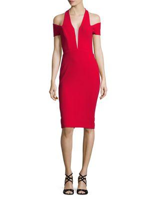 V-Neck Cold-Shoulder Sheath Dress by Nicole Bakti