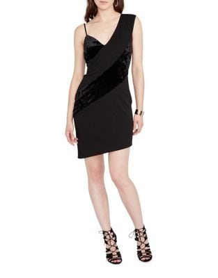 Velvet Asymmetrical Bodycon Dress by RACHEL Rachel Roy