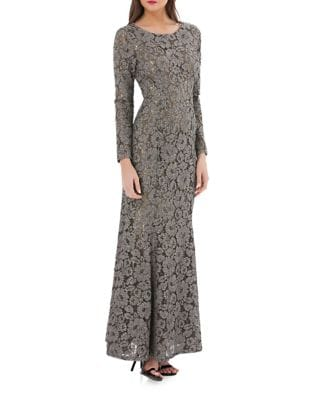 Floral Lace Column Gown by JS Collections