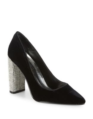 Jovial Point Toe Velvet Pumps by Caparros