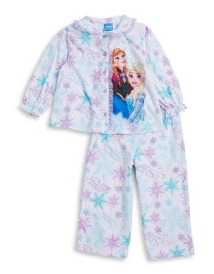 Little Girls TwoPiece Anna and Elsa Pajama Top and Pants Set