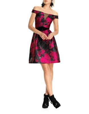 Floral Off-The-Shoulder Fit-&-Flare Dress by Theia