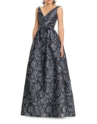 Embroidered Floral Floor-Length Dress by Theia