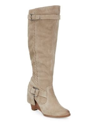 Braid Suede Mid-Calf Boots by Naughty Monkey